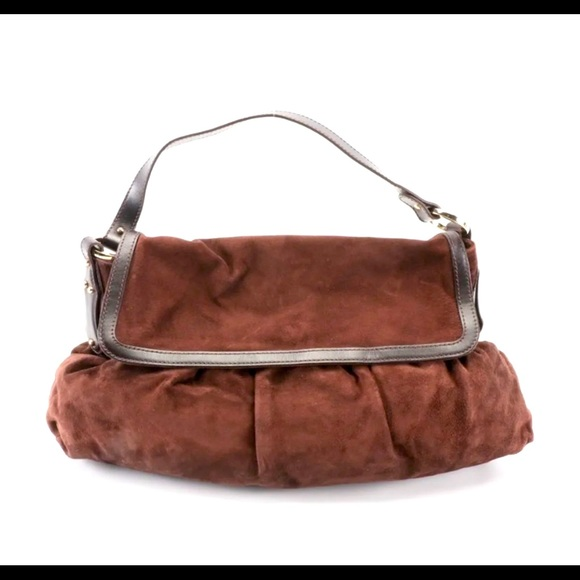Authentic Fendi Chef Large Tote bag Suede Brown